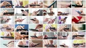 touchscreen : Close-up of hands holding smartphone. Collage