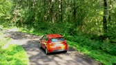 Aerial view of red car driving on country road in forest
