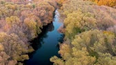 őszies : Aerial view on small river in golden autumn forest.