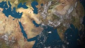 arabistan : A rotating Earth, focusing on the Middle East. Stok Video