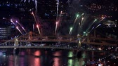 pittsburgh : PITTSBURGH, PA - NOVEMBER 21: Fireworks explode over Pittsburgh, PA during light-up night, the official start of the Christmas Holiday shopping season. Stock Footage