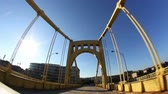 pontes : Traveling over a bridge in Pittsburgh, PA.  Fisheye lens.