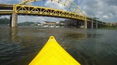 pittsburgh : Kayaking on the Allegheny River in Pittsburgh, Pennsylvania. Stock Footage