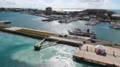 bermudas : A cruise liner leaves Kings Wharf in Bermuda. Stock Footage
