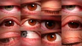 sosyal : Eyeball montage.   Macro shot.