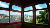 ryba : Fish eye view of looking out the windows of the Duquesne Incline in Pittsburgh, PA.