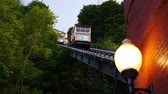 yukarıya bakıyor : Looking up at the cars of Monongahela Incline as they travel up and down Mount Washington near downtown Pittsburgh, PA.