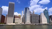 new york city : Lower Manhattan as seen from the river. Stock Footage
