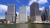 establishing shot : Lower Manhattan as seen from the river. Stock Footage