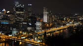 motion blur : A dramatic time lapse view of traffic passing in Pittsburgh at night.