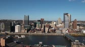 semt : A slow pan of the Pittsburgh skyline.   for editorial or documentary use only.  In 4K UltraHD.