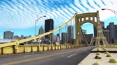 híd : PITTSBURGH, PA - Circa November, 2013 - Traffic passes over the Andy Warhol Bridge in downtown Pittsburgh, PA.  In 4K UltraHD.