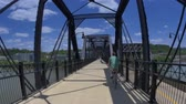 pittsburgh : Bike riding over the Hot Metal Bridge in Pittsburgh, PA.