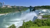 establishing shot :  An establishing shot of Niagara Falls on a summer day. Stock Footage