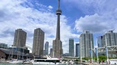establishing shot :  TORONTO, ONTARIO, CANADA - Circa June, 2014 - An establishing shot of Toronto, Canada as seen from a boat on Lake Ontario.