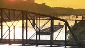 empty barge :  An empty coal barge travels up the Monongahela River near Pittsburgh, PA at dusk. Stock Footage