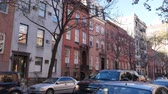 establishing shot : A typical winter scene New York City apartment building establishing shot in the day. Stock Footage
