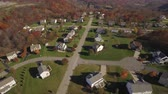 establishing shot : An aerial shot of a typical western Pennsylvania residential neighborhood in late Autumn. Stock Footage