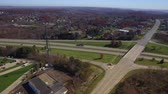 establishing shot : An aerial shot over a western Pennsylvania interstate in late Autumn. Stock Footage