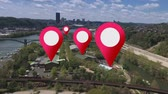 pim : Simulated GPS location markers are placed on businesses in a citys suburbs. Stok Video