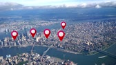 navigation : Simulated GPS waypoints appear over an aerial view of Manhattan.