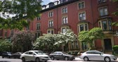 establishing shot : Typical red brick residences in downtown Boston.