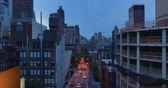 upper east side : NEW YORK - Circa August, 2016 - An evening aerial view of Midtown Manhattan as seen from the Roosevelt Island Tram.