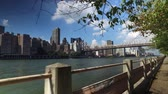 The Manhattan skyline and Ed Koch Queensboro Bridge as seen from the sidewalks and treelined paths of Roosevelt Island.