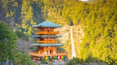 Three-story pagoda with the Nachi Falls in Wakayama Prefecture, Japan