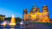 Timelapse Berlin Cathedral at night in Berlin, Germany. Vidéos Libres De Droits