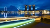 Singapore city skyline and Merlion sunset timelapse, Singapore 4K Time lapse Vidéos Libres De Droits