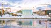 Timelapse day to night of The Oslo Opera House in Oslo, Norway, Time Lapse