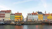 4K, Timelapse, Time lapse video of Nyhavn waterfront, canal and entertainment district in Copenhagen, Denmark.