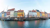 4K, Timelapse video of Nyhavn waterfront, canal and entertainment district in Copenhagen, Denmark, Time lapse