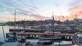 Time Lapse video of Oslo city, Oslo port with boats and yachts at twilight in Norway