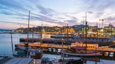 Day to night Time Lapse video of Oslo city, Oslo port with boats and yachts at twilight in Norway