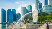 Time lapse video 4k of Merlion in Singapore city, Singapore