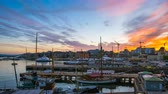 Day to Night Time Lapse video of Oslo city, Oslo port with boats and yachts at twilight in Norway, Timelapse