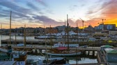 Oslo city Timelapse, Oslo port with boats and yachts at sunset in Norway, Time lapse 4k