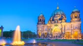 adalar : Timelapse 4K, Berlin Cathedral or Berliner Dom at night in Berlin, Germany, video time lapse Stok Video