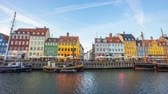 Day to Night Time lapse of Nyhavn waterfront harbor in Copenhagen, Denmark