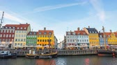 Time Lapse video of Nyhavn landmark of Copenhagen city in Denmark