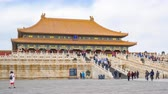 Time Lapse video crowd of tourist in Forbidden city landmark of Beijing city, China, Timelapse, 4K