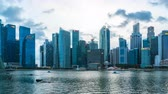 Timelapse video of Singapore cityscape with view of Singapore downtown day to night Time Lapse 4K