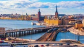 Timelapse video of Stockholm cityscape with view of Gamla Stan old town in Stockholm, Sweden, Time Lapse 4K Vidéos Libres De Droits