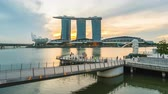 Video Time Lapse Marina Bay with Merlion night to day timelapse, 4K
