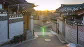 Timelapse video of Sunrise at Bukchon Hanok Village in Seoul city, South Korea, Time Lapse 4K Stock Footage