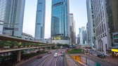 Time lapse of street and traffic road in Hong Kong city day to night time lapse 4K Stok Video