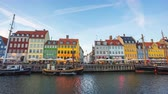 tekneler : Time lapse of Nyhavn Harbour with canal in Copenhagen, Denmark, timelapse 4K Stok Video