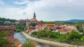 prag : Time Lapse of Cesky Krumlov city skyline in Cesky Krumlov, Czech Republic timelapse 4K